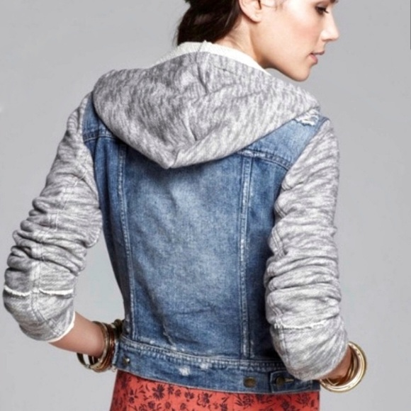 Free People denim and knit hooded jean jacket